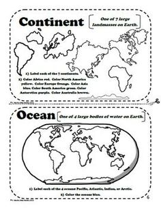 World map worlds continents oceans mapping activity pinterest maps and globes a printable book for introducing or revi gumiabroncs Images
