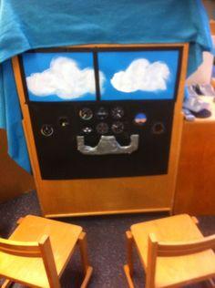 Cockpit in het vliegtuig in de themahoek