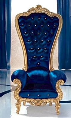 The King Throne Chair In Red Velvet With Gold Wood Finish