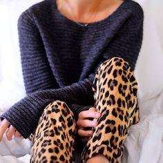 leopard lounge pants.  adorable.