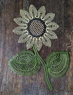 Items similar to Sunflower quatro colori on Etsy Lace Doilies, Crochet Doilies, Lace Flowers, Crochet Flowers, Bruges Lace, Bobbin Lacemaking, Lace Art, Bobbin Lace Patterns, Point Lace