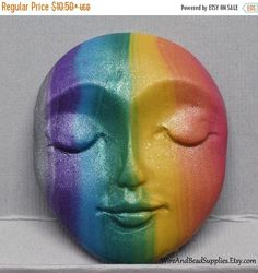 SALE  10% Off  Vertical Rainbow Stripes Polymer Clay Art