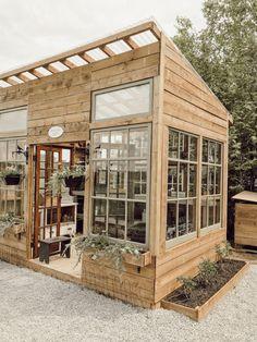 Backyard Greenhouse, Backyard Landscaping, Window Greenhouse, Small Greenhouse, Wood Greenhouse Plans, Homemade Greenhouse, Backyard Bar, Greenhouse Ideas, Landscape Design Plans