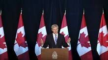Prime Minister Stephen Harper speaks during a news conference on the Trans-Pacific Partnership trade agreement in Ottawa, Canada October 5, 2015. (CHRIS WATTIE/REUTERS)