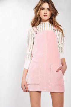 MOTO Pink Velvet Pinafore Dress