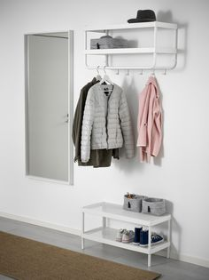 hat and coat rack + shoe rack ikea + mirror Shoe Rack With Mirror, Bench With Shoe Storage, Small Storage, Coat Storage, Storage Rack, Coat Closet Organization, Ikea Closet Organizer, Hat And Coat Stand, Coat Stands