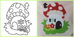 kostenlose Applikation Applikationsvorlage Pilzhaus Freebie free applique pattern mushroom house