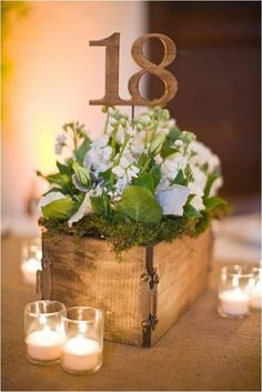 Vintage style crates embedded with flowers are the perfect centre piece for a rustic, garden party style wedding. The wooden numbering adds a subtle and artistic touch and looks great!