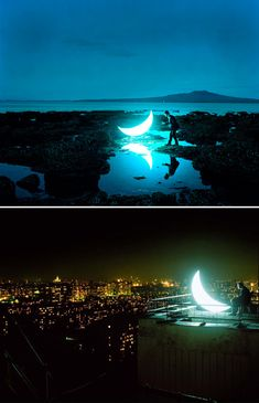 """""""Private Moon"""" by Russian artist Leonid Tishkov: mobile art installation and visual poem tells the story of """"a man who met the Moon and stayed with her forever""""."""