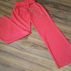 Red Foldover Pants Red, cotton pants with foldover waist Love Tree Pants