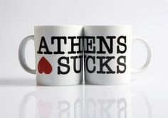 """A ceramic mug featuring an ironic take on the famous """"I love NY"""" logo. Greece is for Lovers, is a creative group focusing on the design of domestic / utility products. Greek Design, I Love Ny, Greek Art, My Cup Of Tea, Thessaloniki, Athens, Greece, Tea Cups, Coffee Mugs"""