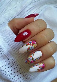 Flowers do not always open, but the beautiful Floral nail art is available all year round. Choose your favorite Best Floral Nail art Designs 2018 here! We offer Best Floral Nail art Designs 2018 .If you're a Floral Nail art Design lover , join us now ! Nail Art Designs, Manicure Nail Designs, Flower Nail Designs, Almond Nails Designs, Floral Nail Art, Nail Art Diy, Diy Nails, Cute Nails, Pretty Nail Art
