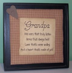 Primitive Country Crafts | Primitive Grandpa Quilted Sign Primitive Decor Rustic Home Accents.