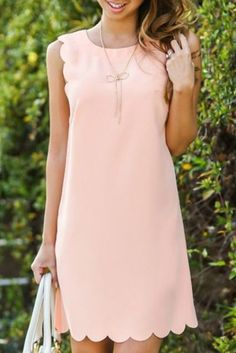 28 Chic Spring Bridal Shower Outfits To Get Inspired: plain blush mini dress with a scalloped hem