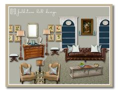 The Design Board for an English Inspired before and after of a long living room . Design by Fieldstone Hill Design @darlene weir @ Fieldstone Hill Design