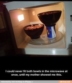Use Mug To Lift Up Second Bowl In Microwave.