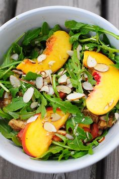 New green balsamic peach arugula salad