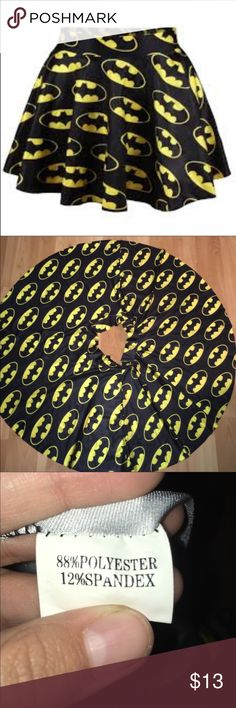 Batman Skirt Only worn once! As part of a halloween costume with friends. It is super cute and great for all the batman fans out there. The material was comfortable and I had absolutely no issues with it. However, I did rip off the tag so it doesn't have the size on there but I'd say its a S/M great for anyone similar to a size 4 Skirts Circle & Skater