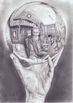 Hand With Reflective Sphere, by MC Escher. Images courtesy of Collection Gemeentemuseum Den Haag/the MC Escher Company Escher Kunst, Mc Escher Art, Art Amour, Hyper Realistic Tattoo, Tatoo Art, Tattoo Ink, Bald Tattoo, Art History, Ideas