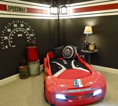Kids car bedroom set hans race car bed design with us furniture home accents by design Cars Bedroom Set, Boys Car Bedroom, Car Themed Bedrooms, Baby Boy Rooms, Bedroom Themes, Bedroom Decor, Kids Rooms, Racing Bedroom, Car Bedroom Ideas For Boys