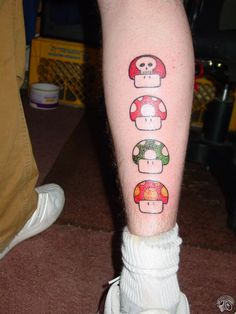 What does mario tattoo mean? We have mario tattoo ideas, designs, symbolism and we explain the meaning behind the tattoo. Cute Girl Tattoos, Trendy Tattoos, Sexy Tattoos, Small Tattoos, Tattoos For Women, Thigh Tattoos, Gamer Tattoos, God Tattoos, Mario Brothers