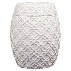 Found it at Wayfair - Ceramic Jar with Lid and Patterned Design Gloss White