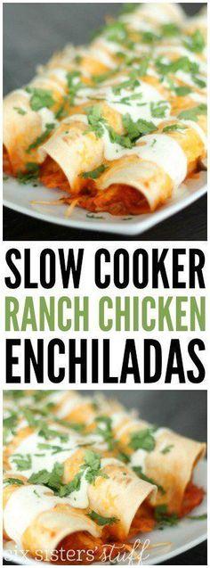 Slow Cooker Ranch Chicken Enchiladas recipe on SixSistersStuff.com   Crockpot Dinner idea   Slow Cooker Recipes