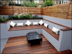 like the contrast in colours like the fencing the corner seating area as a concept think you could do a better fire pit thoughThe modern wooden garden bench fits any garden situationAn eco-friendly roofing is typically a roof that is actually describ Backyard Seating, Backyard Patio, Backyard Privacy, Modern Backyard, Garden Modern, Deck Seating, Diy Patio, Contemporary Garden, Modern Deck