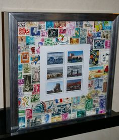 What to do with old stamps Creative Arts And Crafts, Easy Diy Crafts, Recycled Crafts, Decoupage, Travel Collage, Old Stamps, Postage Stamp Art, Art Drawings For Kids, Displaying Collections