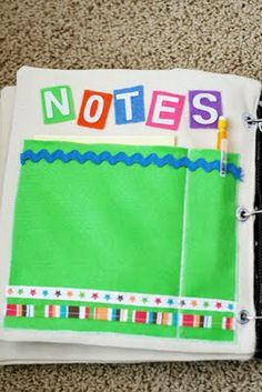 Quiet Book Ideas - pocket for note paper and a pen