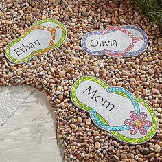 A Personal Creations Exclusive! Lead the way to your pool, patio or garden with playful stepping stones! Each whimsical flip-flop features brightly colored resin pieces that look just like mosaic tiles. Lay down a whole series of personalized stepping stones to create a path that includes the entire family!