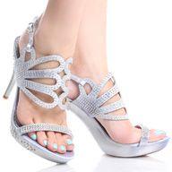 Blue-Suede Peep Toe Women Studded Stiletto High Heel Platform ...