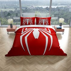 """MARVEL SPIDERMAN """"WEBHEAD"""" REVERSIBLE DUVET DOONA QUILT BEDDING COVER COVER SET   SINGLE  1 Quilt Cover and Pillowcase Included  Reverse colour is white   Quilt cover size : Single  Pillowcase size approx: 50cm x 75cm  Spiderman fans will love this awesome Spiderman single quilt doona duvet cover set. This stunning design has the iconic spider on a red background. The reverse is white. This bedding set can be machine washed and tumble dried on a low setting Single Quilt, Quilt Cover Sets, Cover Size, Quilt Bedding, Red Background, Bed Covers, Spiderman, Pillow Cases, Fans"""