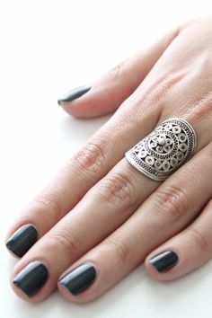 The Vanessa Mooney Down The Road Shield Ring in Silver comes from the brand's Vagabond Collection. This silver-filigree swirl, shield ring is handmade by the Hmong Hill tribe in Thailand. Jewelry Rings, Silver Jewelry, Silver Ring, Jewlery, Silver Filigree, Boho Rings, Silver Earrings, Bagan, Cute Rings