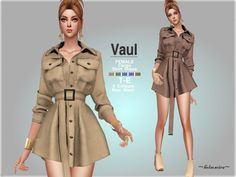 Style : Industrial utility cargo shirt dress with pockets and belt detail Found in TSR Category 'Sims 4 Female Everyday' The Sims 4 Pc, Sims Cc, Maxis, Sims 4 Pets, Sims 4 Anime, Cargo Shirts, Sims 4 Dresses, Sims4 Clothes, The Sims 4 Download