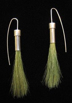 "Sarah Hood: 'Green Grass Earrings',  sterling silver and model railroad ""field grass"". made for the 500 Earrings show at Facere"
