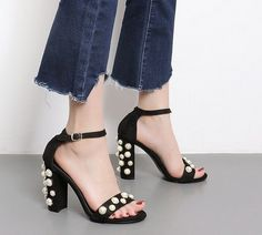 TIMESIZE String Bead Rivets Open Toe Sandals