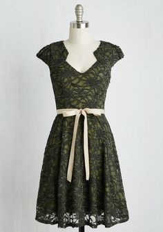 Sweet Staple Dress in Moss. While standing in your closet full of precious pieces, you often find yourself reaching for this olive green! #multi #modcloth
