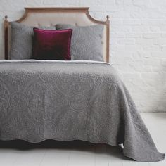 Buy the beautifully designed Colette Charcoal Grey Quilted Bedspread, by The French Bedroom Company. Shop 24 hours a day for Effortless Luxury Online. Bespoke Furniture, Large Furniture, Gray Bedspread, Best Charcoal, Single Quilt, Minimalist Room, Quilted Bedspreads, Double Beds, House Rooms