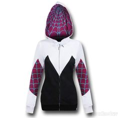 The Spider Gwen Costume Zip-Up Hoodie is the ultimate in hoodies for fans of the Spider-Man Gwen Stacy! Don't show Peter Parker though - that guy gets jealous! Spiderman And Gwen, Marvel Clothes, Nerd Fashion, Super Hero Costumes, Hoodies, Sweatshirts, Cool Outfits, Sporty Outfits, Zip Ups