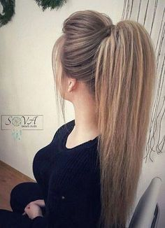 38 Charming Ponytail Hairstyles Ideas With Sophisticated Vibe Haar Ideen Cute Ponytail Hairstyles, Long Face Hairstyles, Weave Hairstyles, Wedding Hairstyles, Ponytail Ideas, Trendy Hairstyles, Hairstyle Ideas, Cute Ponytail Styles, Cute Ponytails