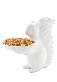 I love squirrels.... and he is holding nuts... so cute and funny!  Trail Mix It Up Bowl - White
