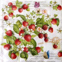 【楽天市場】#11ペーパーナプキン[メール便OK] 10枚入りロマンティックストロベリー[Nuova]ペーパーナフキン・紙ナプキン・デコパージュイチゴ・いちご:KADERIA