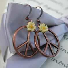 Peace earrings with Daisy accents Copper plated Peace sign earrings on Etsy, $19.00