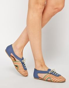 Enlarge ASOS JUDE Woven Lace Up Leather Shoes