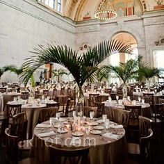 "RF: This setting is very much like our venue.  Gives yo a good sense of how the green will look with the white. Detroit Institute of Arts- Palm Court 'Brunch with Bach""."