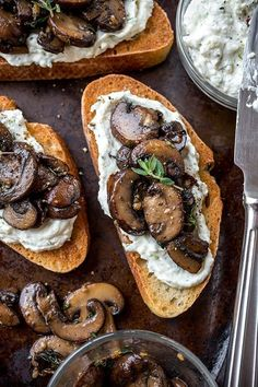 Garlic Mushroom Toast with Herbed Ricotta Spread Garlic Mushroom Toast with Herbed Ricotta Spread,Wine Time! Savory Eats: Garlic Mushroom Toast with Herbed Ricotta Spread appetizers and drink pastry recipes cabbage rolls recipes cabbage rolls polish Garlic Mushrooms, Stuffed Mushrooms, Fried Mushrooms, Mushroom Toast, Mushroom Food, Mushroom Recipes, Mushroom Ravioli, Healthy Snacks, Healthy Recipes