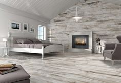 wood look tiles used on a feature wall and the floor for maximum effect