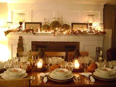 """Fall Dinner Party, http://sharpsfarm.blogspot.com/  This great gathering table inspired me to throw a dinner party...found at a local thrift shop for $29.00, this solid oak table will easily seat 12!!! Ive """"mixed & matched """" my Lenox Butlers Pantry place settings for a more informal look. , Dining Rooms Design"""