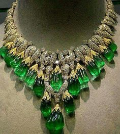 David Webb emerald, diamond, yellow and white gold necklace.